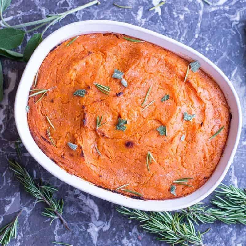Sweet Potatoes with Orange Zest in a casserole dish by foodology geek