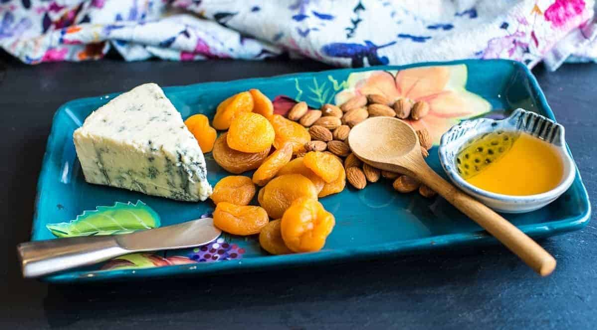 Blue Cheese with Apricots, Almonds and Honey