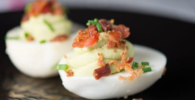 Bacon, Tomato and Avocado Green Deviled Eggs