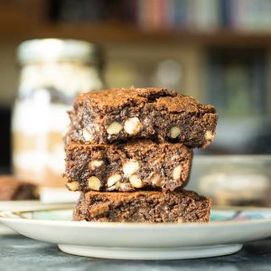 brownies with white chocolate chips, dark chocoate chips and walnuts.