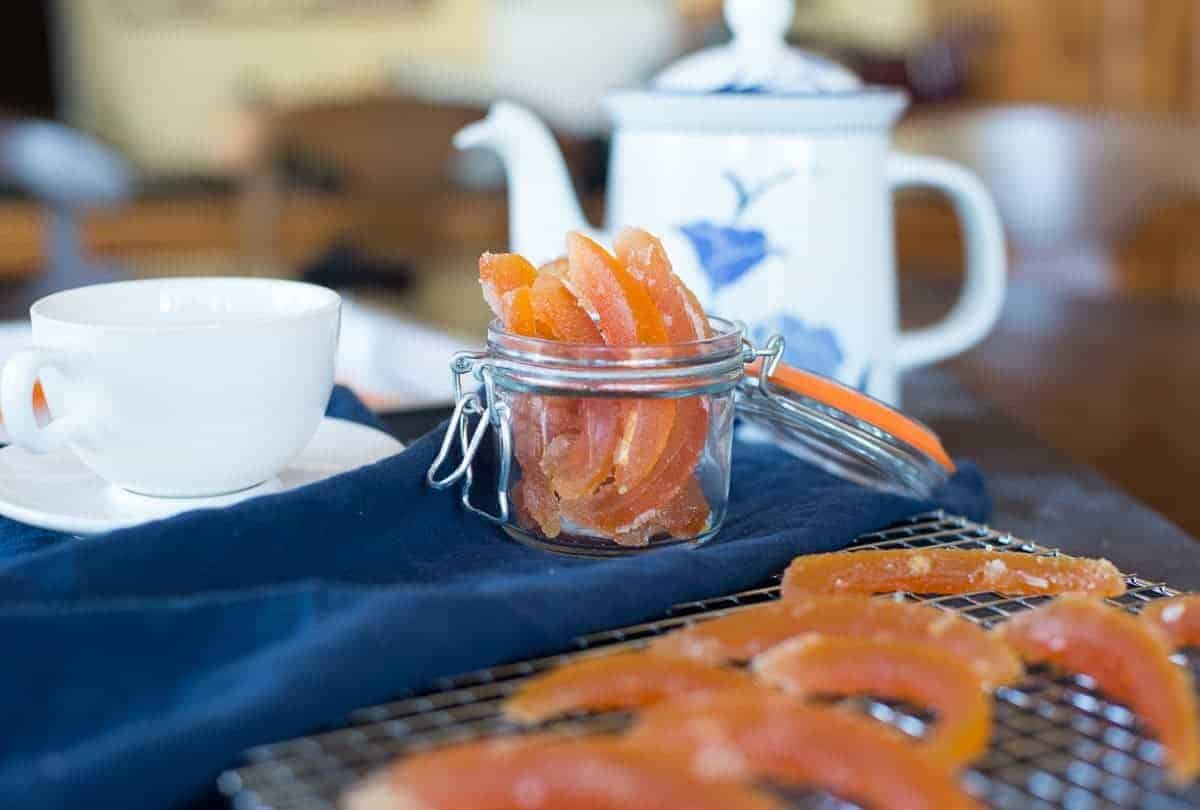 Candied Citrus Rind in a Jar with tea