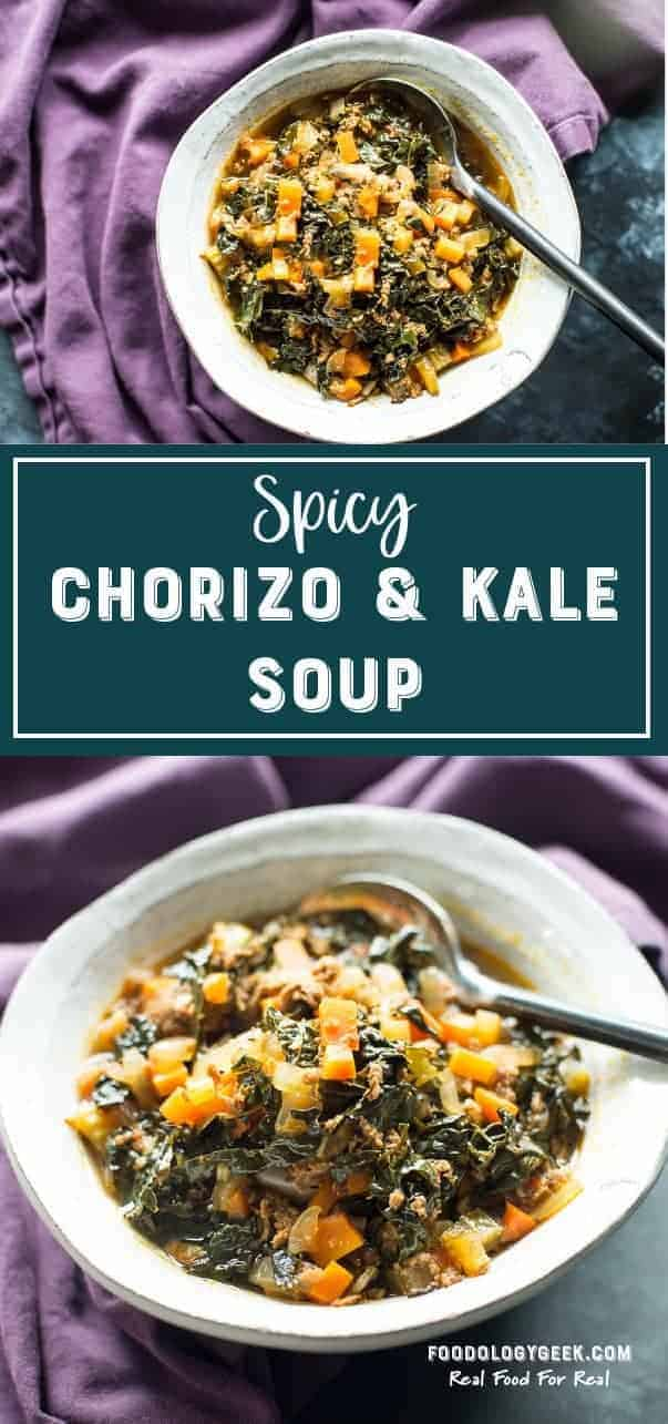 Spicy Chorizo and kale soup pinterest image by foodology geek