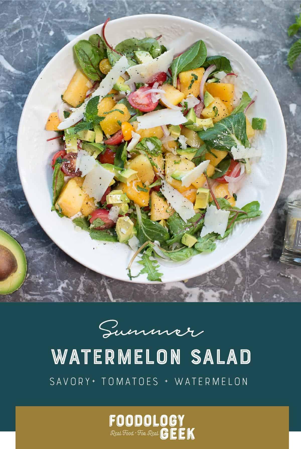 Fresh Tomato and Watermelon Salad Recipe witn ricotta salata cheese by foodology geek