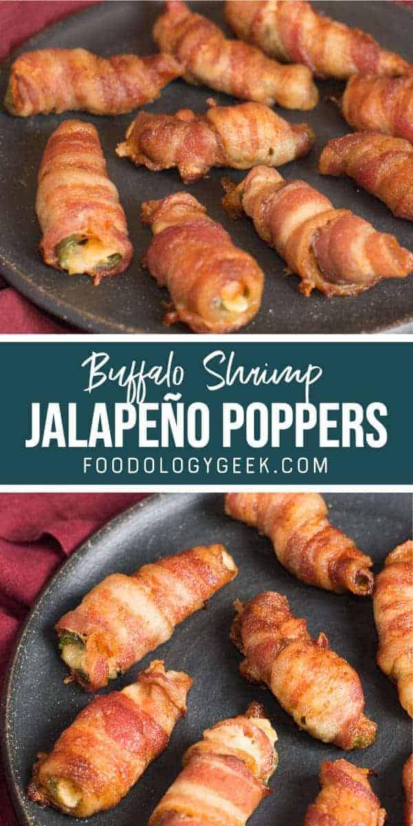 buffalo shrimp jalapeno poppers pinterest image. by foodology geek