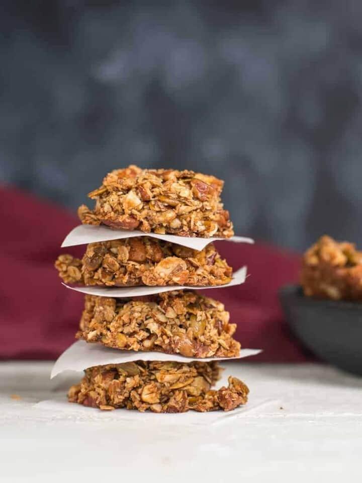 Stack of Paleo Granola cookies. Recipe by foodology geek
