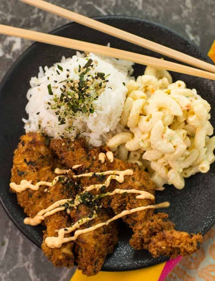Furikake Fried Chicken with rice and mac salad overhead (1 of 1)