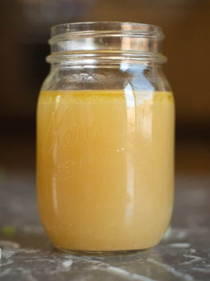 easy homemade bone broth in a mason jar