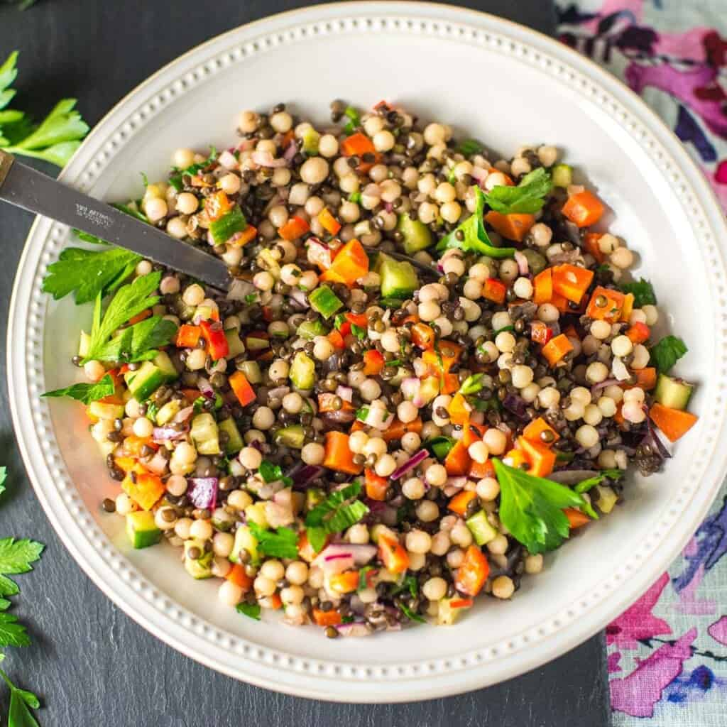 easy couscous salad with black lentils and fresh veggies
