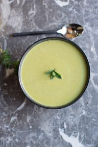 Fresh green pea and mint soup