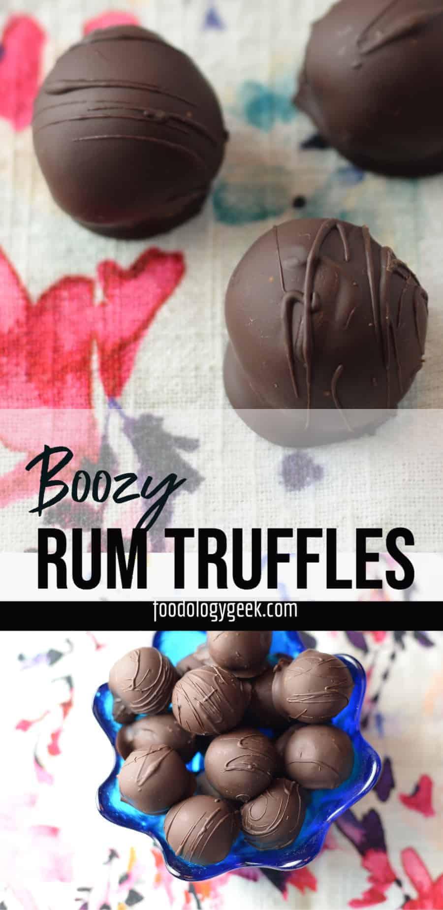 Easy homemade rum truffles pinterest image
