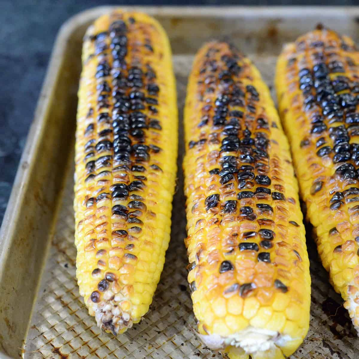 Roasted corn, broiled in the oven.