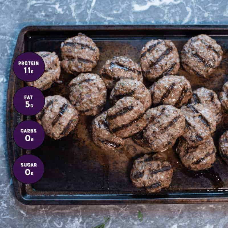 mini sized burgers two ounces each. Perfect for portion control.