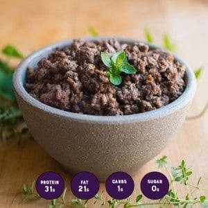 Grass-Fed Beef with Macros in a bowl