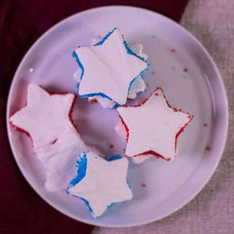 a stack of red white and blue star shaped homemade marshmallows