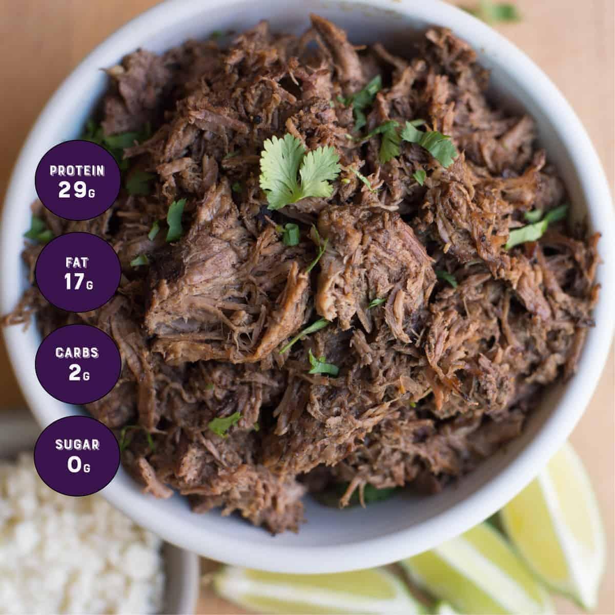Shredded Slow Cooker Beef with Macros. recipe by foodology geek