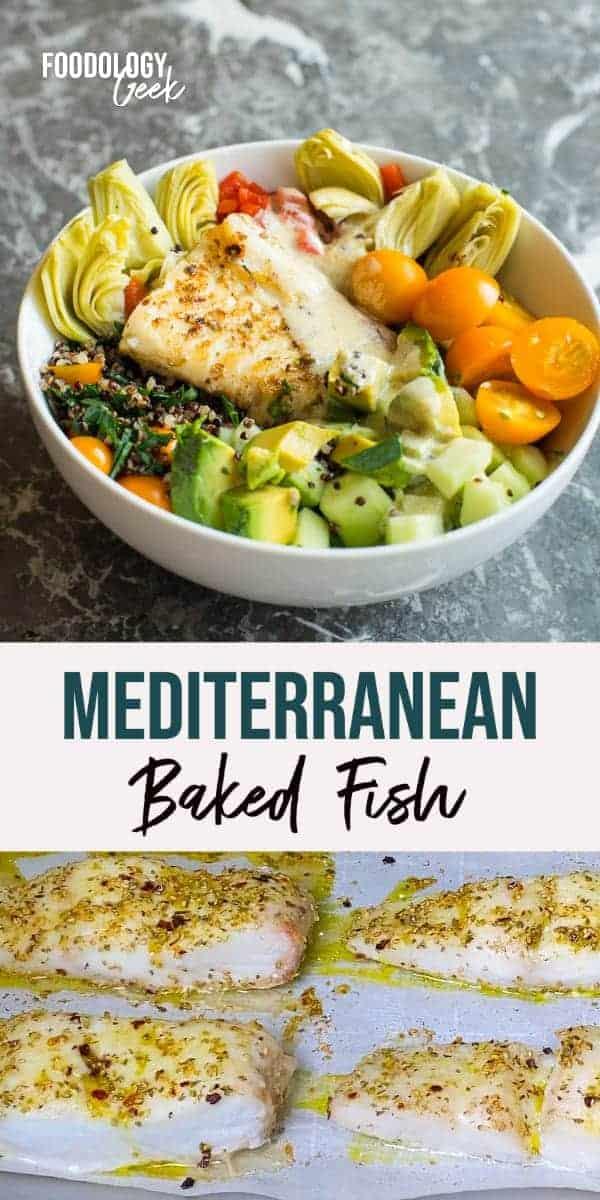 mediterranean baked fish pinterest image