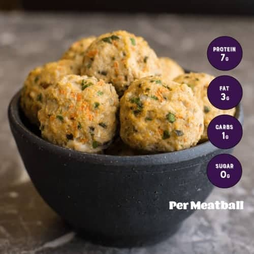 Asian Style Meatballs with macro count displayed.