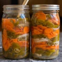 Homemade Fermented Spicy Carrots with Jalapeños