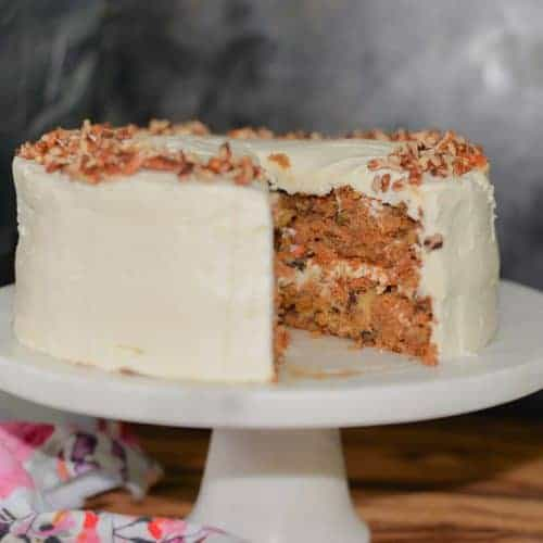 Gluten-free carrot cake with pineapple and cream cheese frosting.