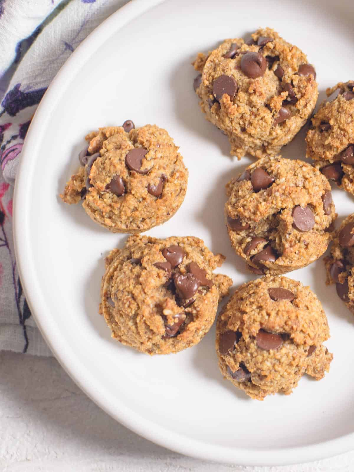 low carb chocolate chip cookies made with hazelnut flour on a white plate