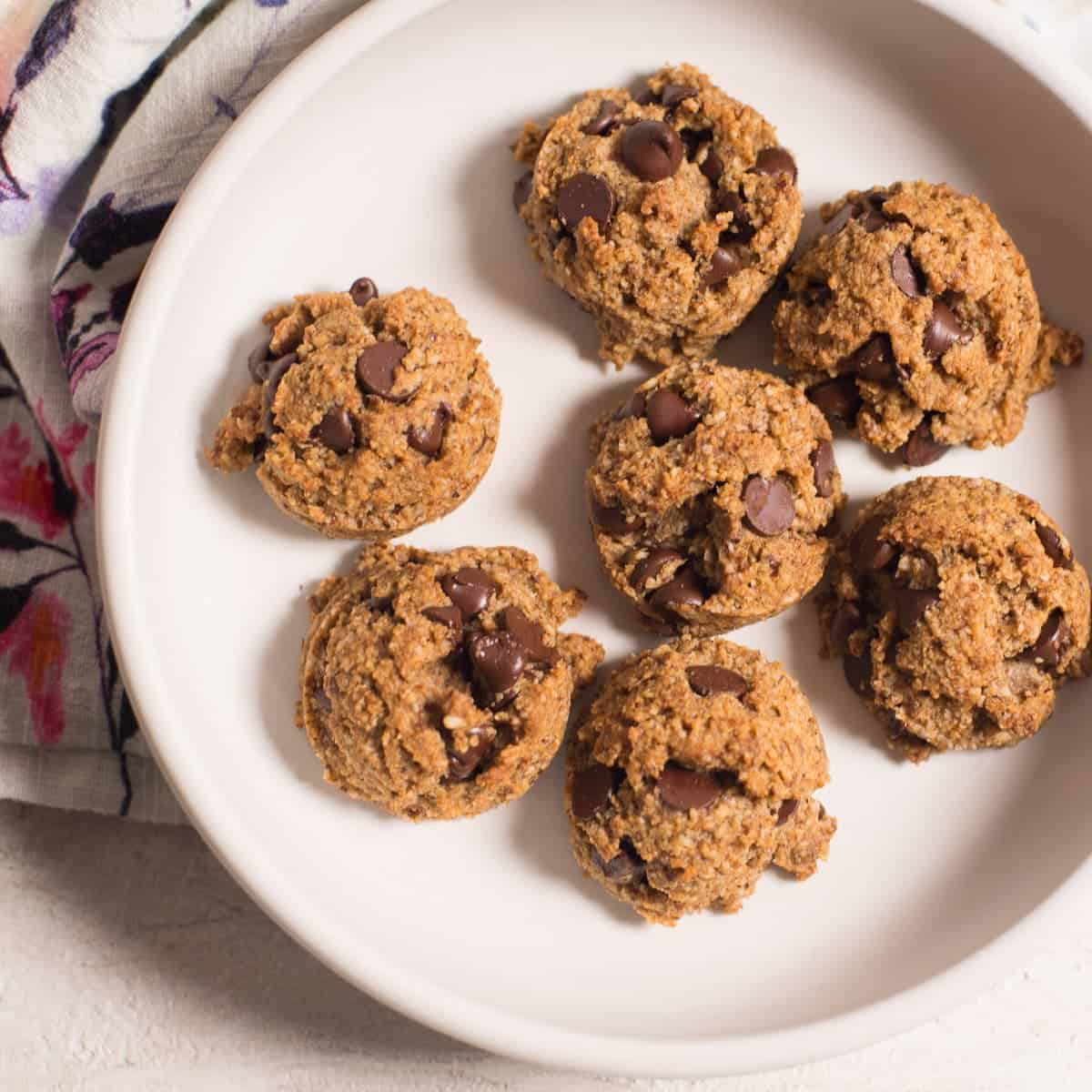 grain free chocolate chip cookie recipe on a white plate