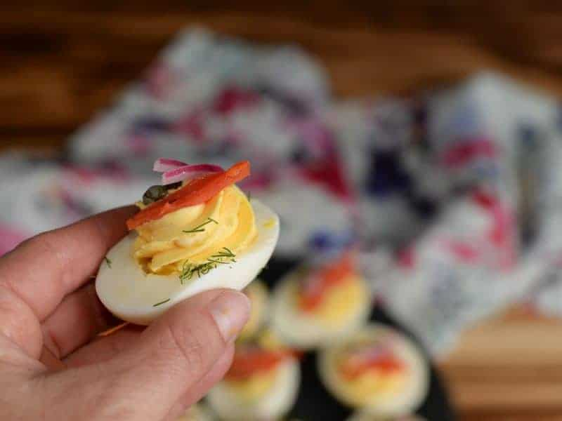 Deviled Eggs with Smoked Salmon, Capers, and Pickled Red Onions