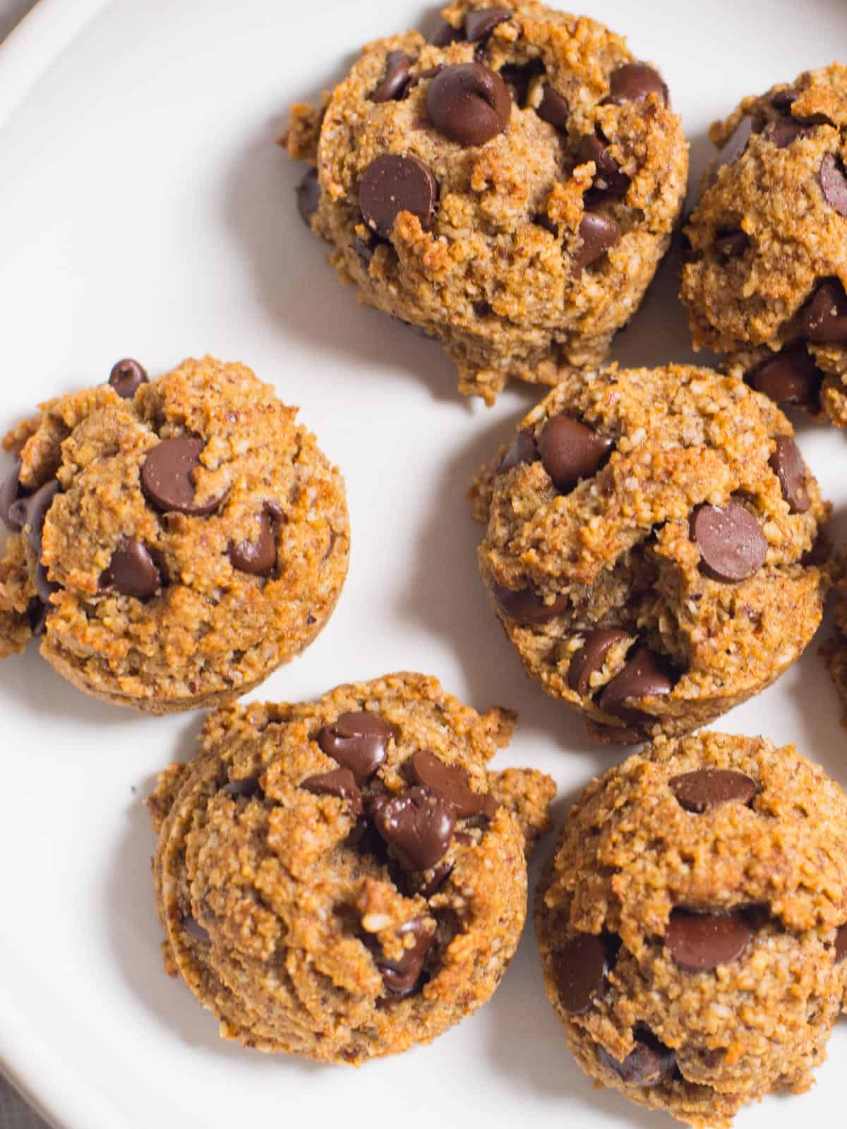 a plate of low carb, grain free chocolate chip cookies