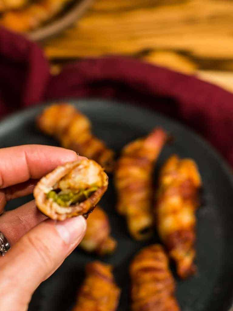 photo of a bacon wrapped buffalo shrimp jalapeno popper appetizer