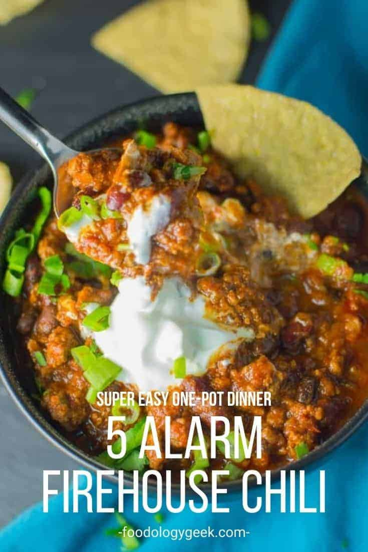 Thick and meaty chili is an easy one-pot dinner. Top this warm bowl of homemade chili with sour cream, onions, and plenty of cheese.