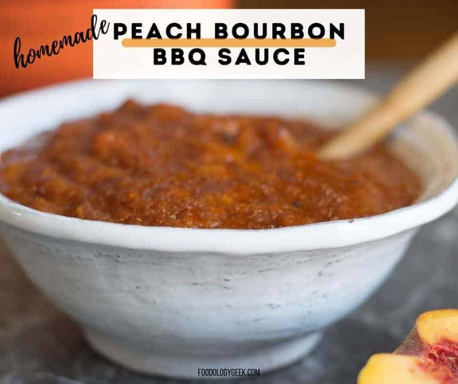 Imagine your favorite grilled chicken or pork slathered with a rich, spicy-sweet peach-bourbon barbeque sauce. This is my absolute favorite homemade barbecue sauce recipe. Pair this tangy sauce with the tastiest pork skewers. PLUS: there is bacon between the chunks of pork!! Now it's a party!