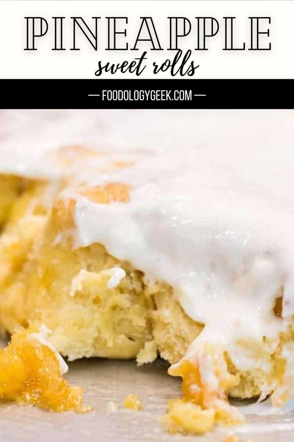 Filled with sticky pineapple caramel and pineapple curd. Then topped with pineapple cream cheese frosting. #hawaiifood #pineapplerolls #islandfood