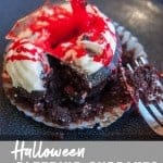 Halloween bleeding cupcakes. pinterest image by foodology geek.