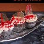 glass shard cupcake. Pinterest image by foodology geek.