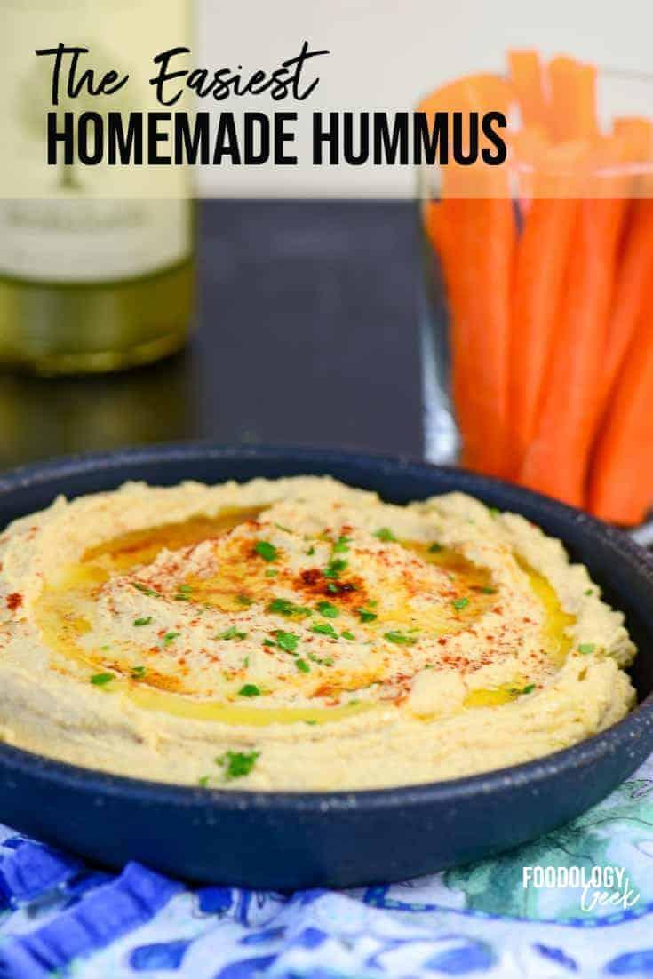 easy homemade hummus dip pinterest image | foodology geek