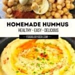 homemade hummus dip served with carrots