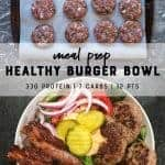 Healthy loaded burger bowls for meal prep.