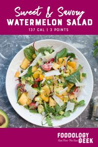 Sweet and Savory Watermelon Salad. Watermelon, fresh tomatoes, greens, avocado and percorino romano cheese.
