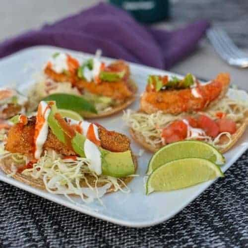 Airfryer baja fish tacos with white sauce