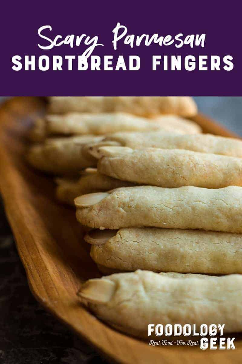 Parmesan Shortbread Biscuits in the shape of monster fingers.