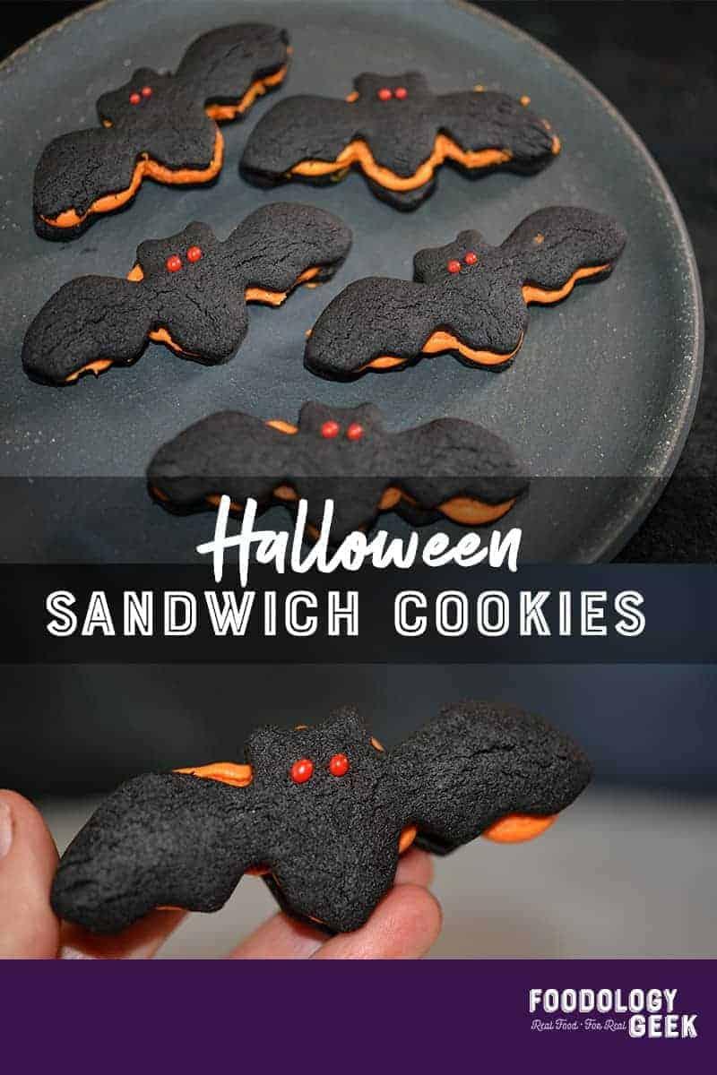 halloween sandwich cookies. pinterest image by foodology geek.