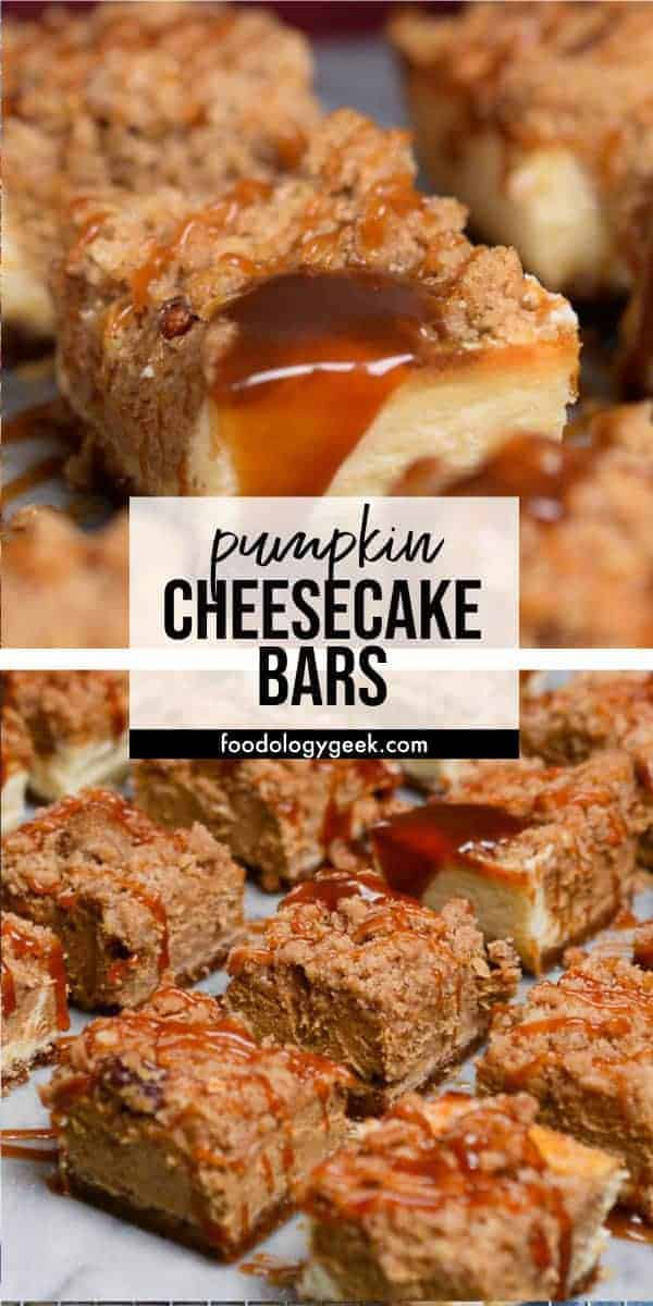 pumpkin cheesecake bars pinterest image