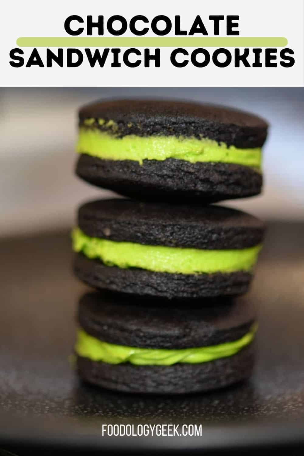 These are dark chocolate sandwich cookies filled with orange buttercream. Imagine, gourmet Oreos that are ready for your next Halloween party!