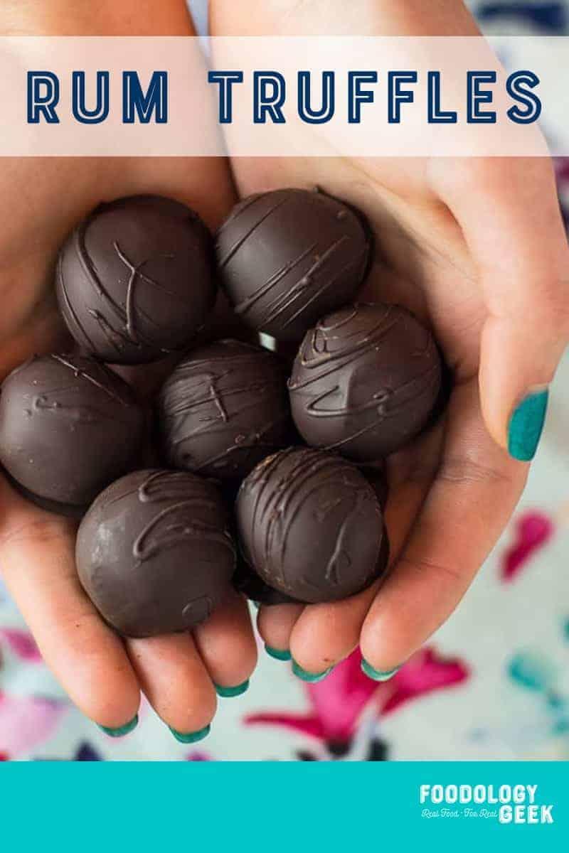 rum truffles pinterest image by foodology geek.