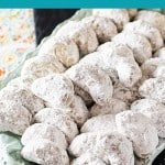 pecan shortbread cookies rolled in powdered sugar. Pinterest image by foodology geek