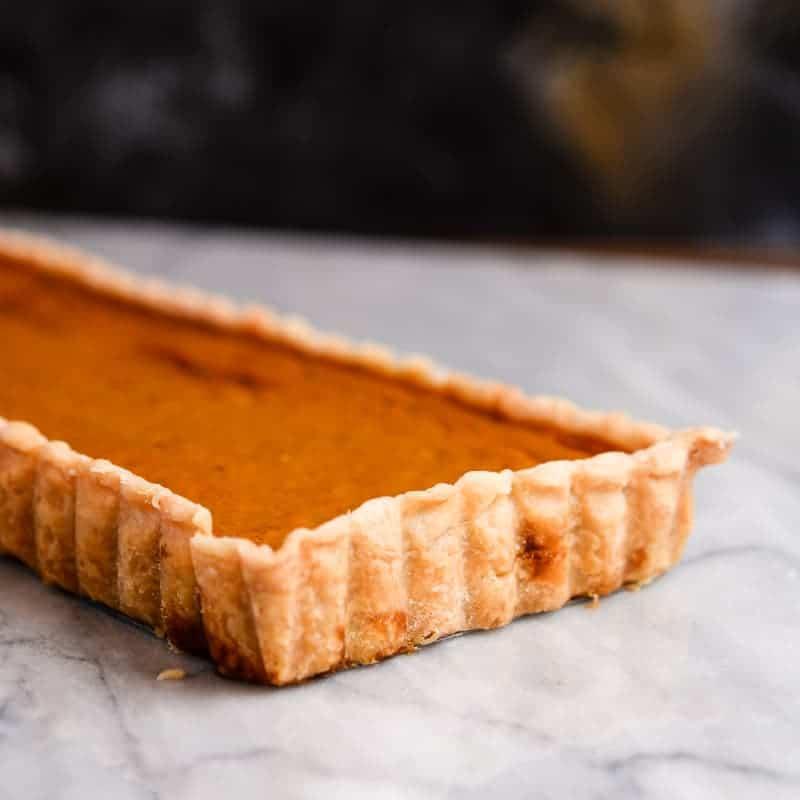 rectangular pumpkin pie tart.