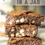 Brownies in a jar recipe. Pinterest Image by Foodology Geek.