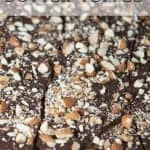 Butter toffee recipe with dark chocolate and almonds. Pinterest Image by Foodology Geek.
