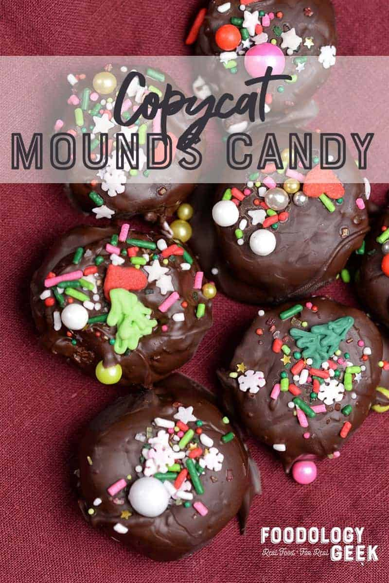 Coconut candy with sprinkles. Copycat Mounds Candy Bites. Pinterest Image by Foodology Geek