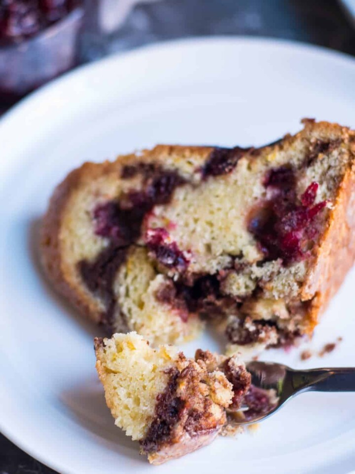 Close up of cranberry, cinnamon streusel coffee cake.