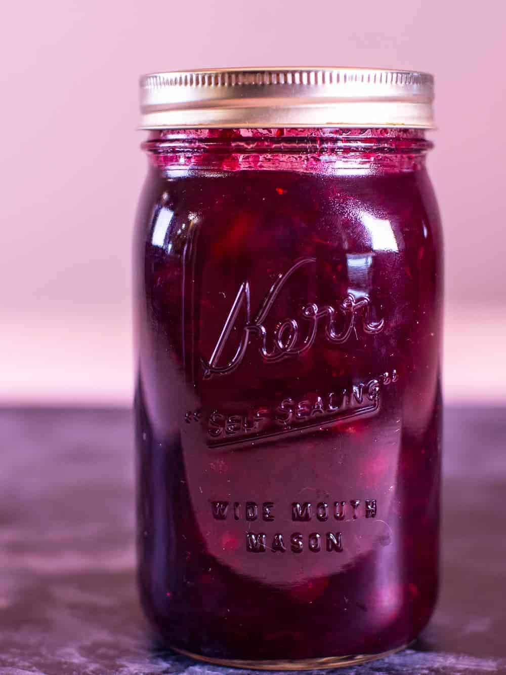 Homemade Cranberry Sauce in a Mason Jar